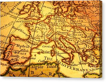 Old Map Of Europe And Mediterranean Canvas Print by Colin and Linda McKie