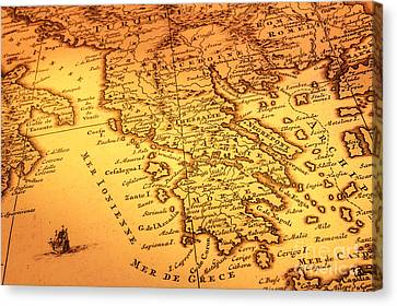 Old Map Of Greece Canvas Print by Colin and Linda McKie