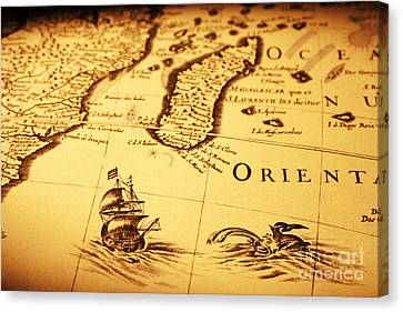 Old Map Sea Monster Sailing Ship Africa Madagascar Canvas Print by Colin and Linda McKie