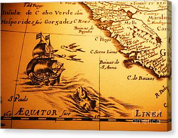 Old Map Sea Monster Sailing Ship Equator Africa Canvas Print by Colin and Linda McKie