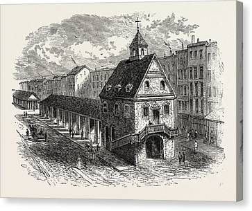 Old Market House At Philadelphia, United States Of America Canvas Print by American School