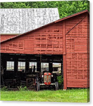 Old Massey Ferguson Red Tractor In Barn Canvas Print by Edward Fielding
