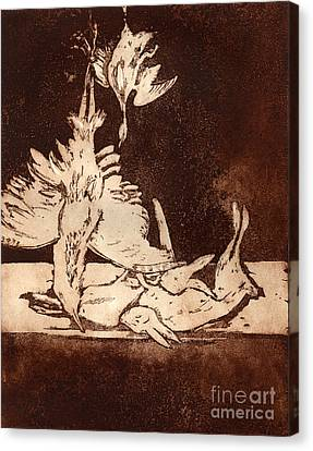 Canvas Print featuring the painting Old Masters Still Life - With Great Bittern Duck Rabbit - Nature Morte - Natura Morta - Still Life by Urft Valley Art
