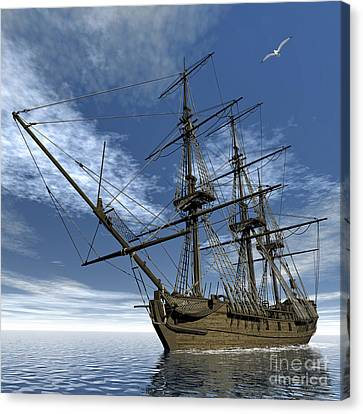 Old Meduse Frigate Of The French Navy Canvas Print by Elena Duvernay