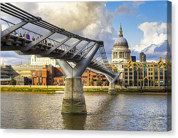 Old Meets New - St Paul's And The Millennium Bridge Canvas Print by Mark E Tisdale
