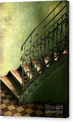 Old Metal Stairs With Decorated Handrail Canvas Print by Jaroslaw Blaminsky