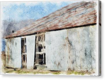 Old Metel Shed Painted Effect Canvas Print