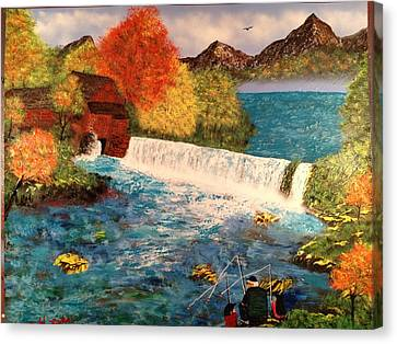 Canvas Print featuring the painting Old Michigan Mill by Michael Rucker