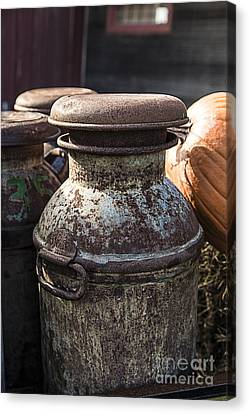 Old Milk Cans Canvas Print by Edward Fielding