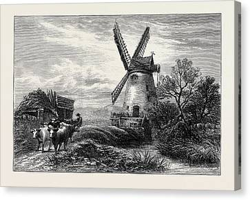 Old Mill At Ty Cross Canvas Print by English School