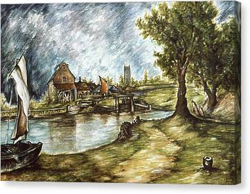 Old Mill By The Water - Impressionistic Landscape Canvas Print by Art America Gallery Peter Potter