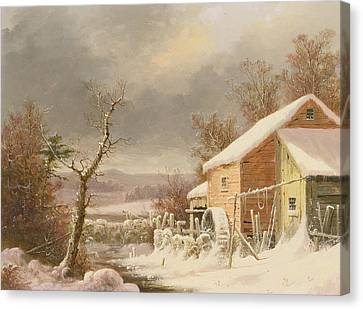 Old Mill In Winter Canvas Print by George Henry Durrie