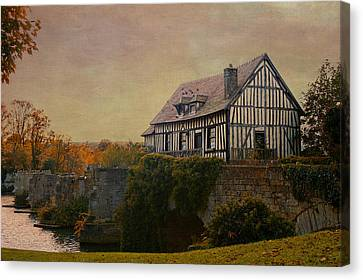 Old Mill On The Broken Bridge At Vernon Canvas Print by Jean-Pierre Ducondi