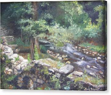Canvas Print featuring the painting Old Mill Steam II by Lori Brackett
