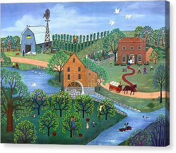 Farm Canvas Print - Old Mill Stream by Linda Mears