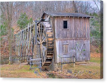 Old Mill Water Wheel And Sluce Canvas Print by Douglas Barnett