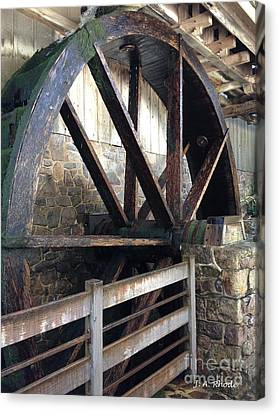 Canvas Print featuring the photograph Old Mill Water Wheel by Jeannie Rhode