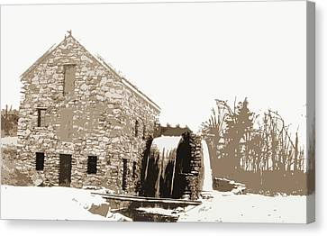 Old Mill, Waterwheel, Mills, Rivers, Waterwheels Canvas Print by Litz Collection