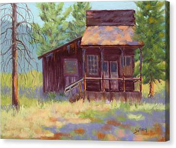 Canvas Print featuring the painting Old Mining Store by Nancy Jolley