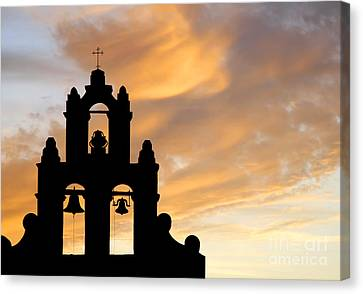 Old Mission Bells Against A Sunset Sky Canvas Print by Lincoln Rogers
