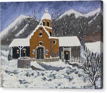 Canvas Print featuring the painting Old Mission In Winter by Mary M Collins