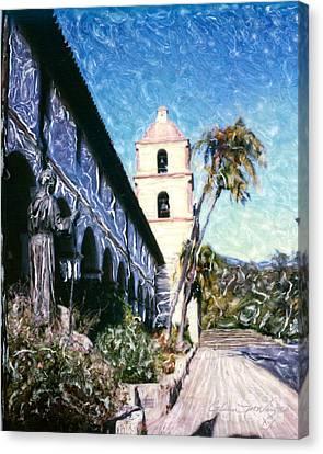 Old Mission Santa Barbara Walkway Canvas Print