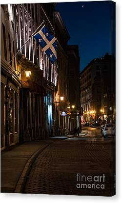Old Montreal At Night Canvas Print by Cheryl Baxter