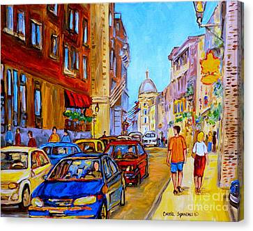 Canvas Print featuring the painting Old Montreal by Carole Spandau