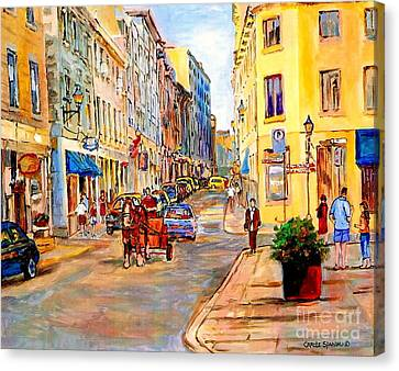 Old Montreal Paintings Youville Square Rue De Commune Vieux Port Montreal Street Scene  Canvas Print