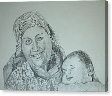 Old Mother With New Baby Canvas Print by Esther Newman-Cohen