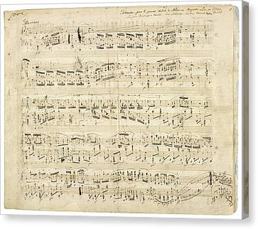 Old Music Notes - Chopin Music Sheet Canvas Print by Tilen Hrovatic