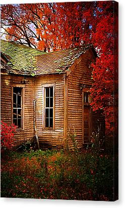 One Room School Houses Canvas Print - Old One Room School House In Autumn by Julie Dant