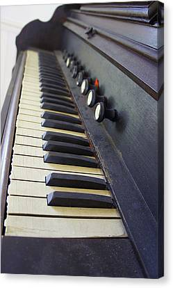 Old Organ Keyboard Canvas Print by Laurie Perry