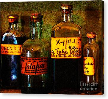 Old Pharmacy Bottles - 20130118 V1b Canvas Print by Wingsdomain Art and Photography