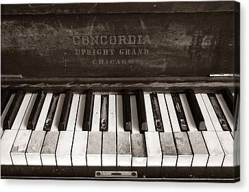 Piano Canvas Print - Old Piano Keys by Jim Hughes