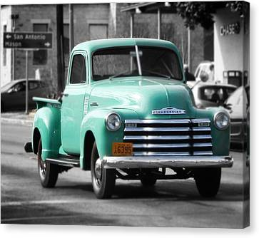 Old Pickup Truck Photo Teal Chevrolet Canvas Print by Terry Fleckney