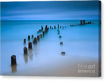 Old Pier Pilings On Lake Michigan Canvas Print by Katherine Gendreau