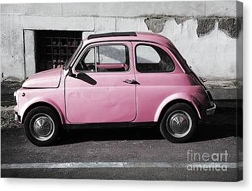 Exoticism Canvas Print - Old Pink Fiat 500 by Stefano Senise