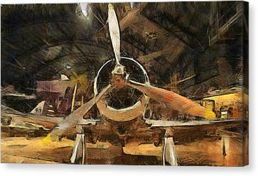Vintage Airplane Canvas Print - Old Plane In The Hangar by Dan Sproul
