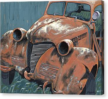 Rusted Cars Canvas Print - Old Plymouth by John Wyckoff