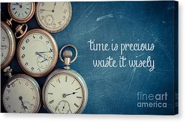 Gold Metal Canvas Print - Time Is Precious Waste It Wisely by Edward Fielding