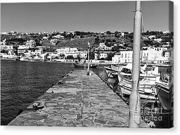 Old Port Walk In Mykonos Mono Canvas Print by John Rizzuto