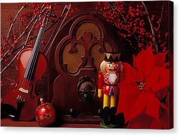 Old Raido And Christmas Nutcracker Canvas Print by Garry Gay