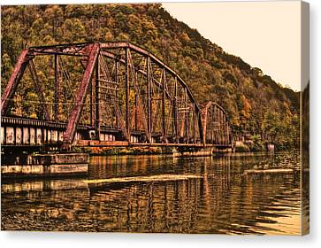 Canvas Print featuring the photograph Old Railroad Bridge With Sepia Tones by Jonny D
