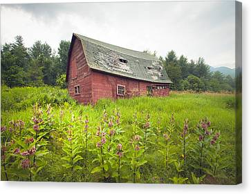 Old Red Barn In A Field - Rustic Landscapes Canvas Print by Gary Heller