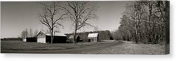 Old Red Barn In Black And White Long Canvas Print by Amazing Photographs AKA Christian Wilson