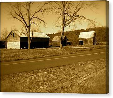 Canvas Print featuring the photograph Old Red Barn In Sepia by Amazing Photographs AKA Christian Wilson