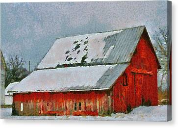 Old Red Barn In Winter Canvas Print by Dan Sproul