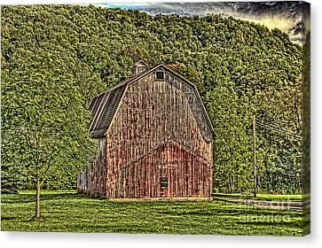 Canvas Print featuring the photograph Old Red Barn by Jim Lepard