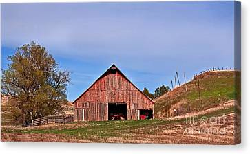 Old Red Barn Landscape Canvas Print